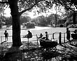 Families by the lake in Birkenhead Park, 1950