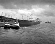 'British Glory' on the Mersey, with North End' and 'North Rock' tugs in 1957