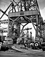 Buses at Cammell Lairds under the 100 ton crane, 1960
