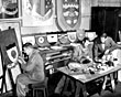 Painting ships' badges, Cammell Lairds, 1958