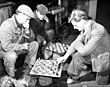 playing chess during a break, Cammell Lairds, 1960