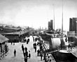 Liverpool landing stage with the Isle of Man paddle steamer, 1890s