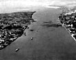Both banks of the Mersey from the air, 1950s